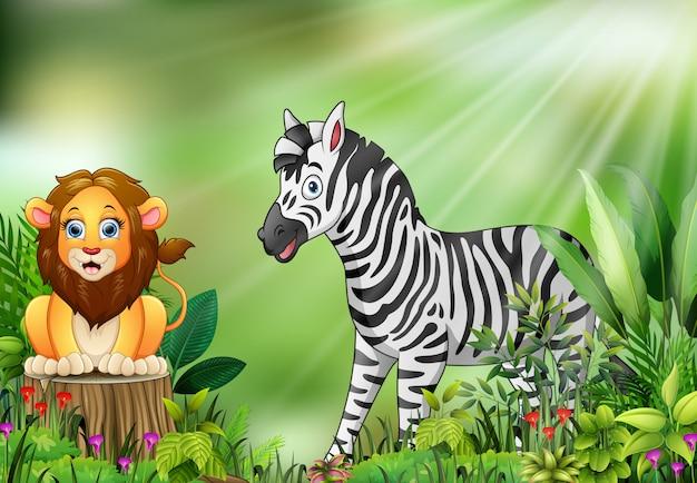 Caricature de la scène de la nature avec un lion assis sur une souche d'arbre et un zèbre