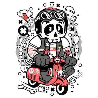 Caricature de scooteriste de crâne