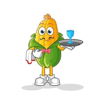 Caricature de serveur de maïs. vecteur de mascotte de dessin animé