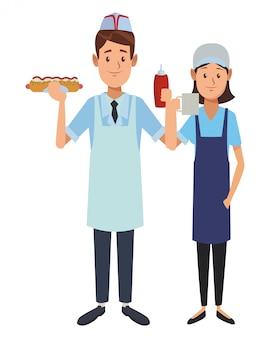 Caricature de serveur de restaurant