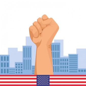 Caricature de signe de poing main serrée