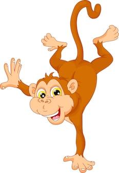 Caricature de singe mignon debout sur sa main