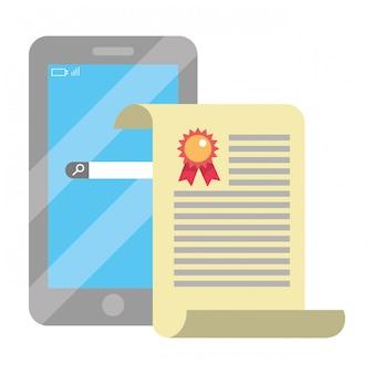 Caricature de smartphone d'éducation en ligne