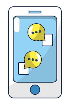 Caricature de smartphone de technologie