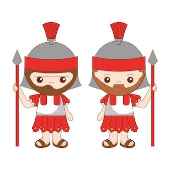 Caricature de soldats romains isolé sur fond blanc. illustration vectorielle