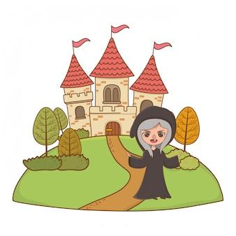 Caricature de sorcière médiévale d'illustration de conte de fées