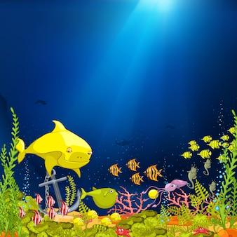 Caricature sous-marine de l'océan