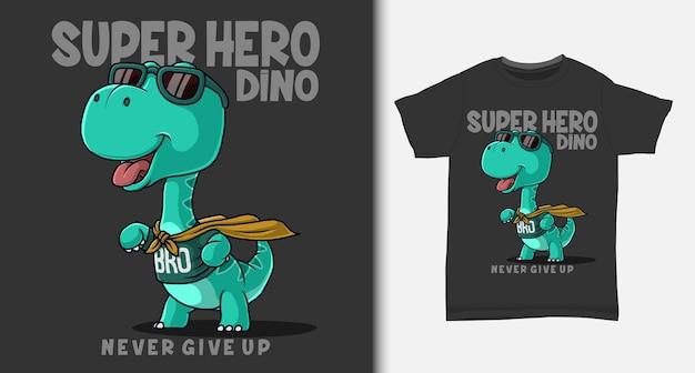 Caricature de super-héros de dinosaure. avec un design de t-shirt.