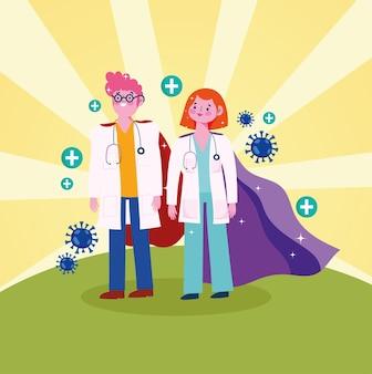 Caricature de super médecins