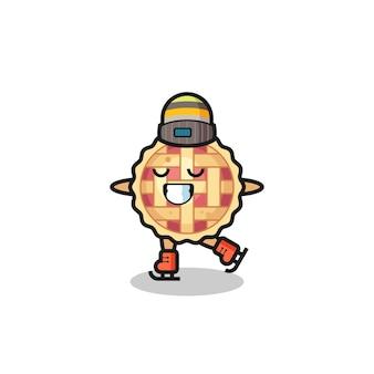 Caricature de tarte aux pommes en tant que joueur de patinage sur glace faisant des performances, conception de style mignon pour t-shirt, autocollant, élément de logo