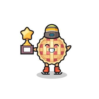 Caricature de tarte aux pommes en tant que joueur de patinage sur glace tenant le trophée du gagnant, design de style mignon pour t-shirt, autocollant, élément de logo