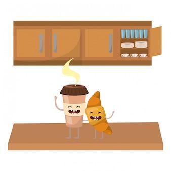 Caricature de tasse de café kawaii