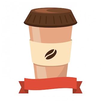 Caricature de tasse de café en papier