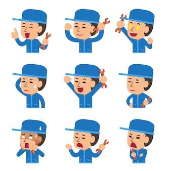 Caricature d'un technicien montrant différentes émotions