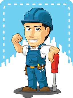 Caricature de technicien ou réparateur