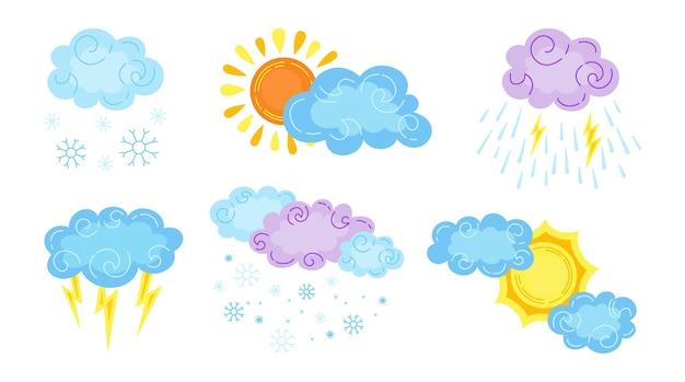 Caricature de temps dessiné à la main sertie de nuages et de soleil