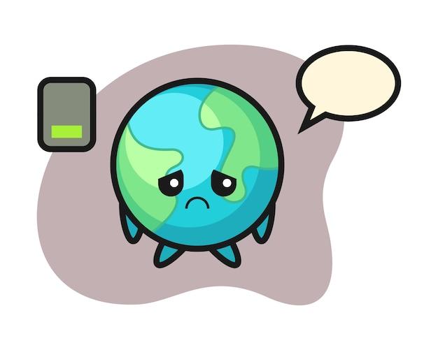 Caricature de la terre faisant un geste fatigué