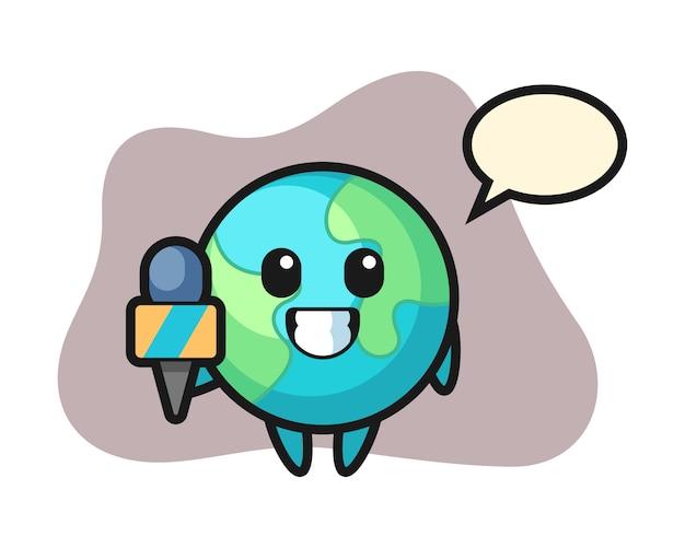 Caricature de la terre en tant que journaliste