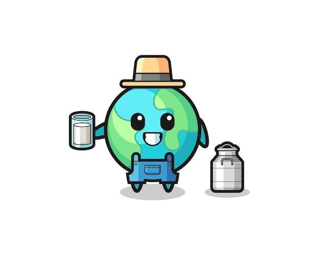 Caricature de la terre en tant que producteur laitier, design mignon