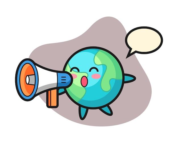 Caricature de la terre tenant un mégaphone