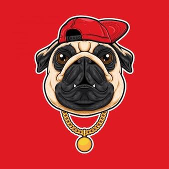 Caricature de tête de chien carlin