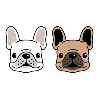 Caricature tête chien vecteur français bouledogue