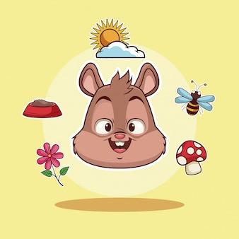 Caricature de tête d'écureuil