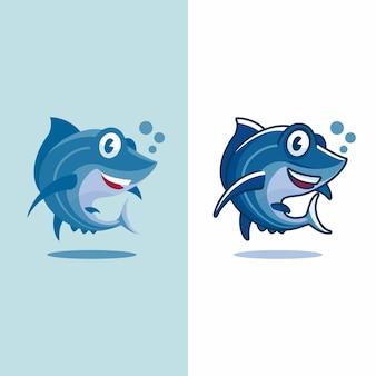 Caricature de thon dans deux types différents de design plat et non plat