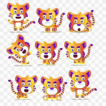 Caricature de tigre avec différentes poses et expressions.