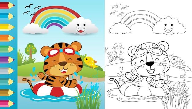 Caricature de tigre drôle nageant à l'aide d'une bouée de sauvetage en rivière, livre de coloriage ou page