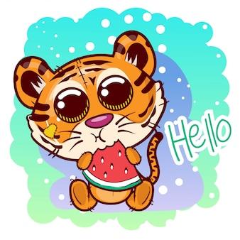 Caricature de tigre mignon avec melon d'eau douce. vecteur