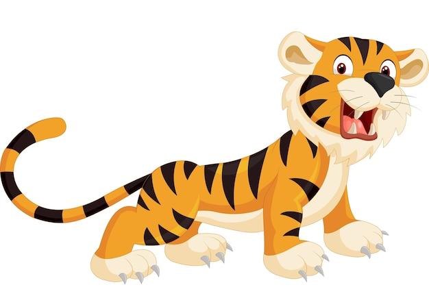 Caricature de tigre mignon rugissant