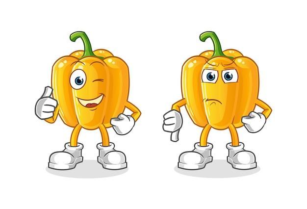 Caricature de tomate pouces vers le haut et pouces vers le bas