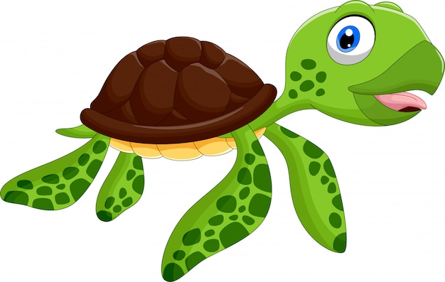 Caricature de tortue de mer heureuse