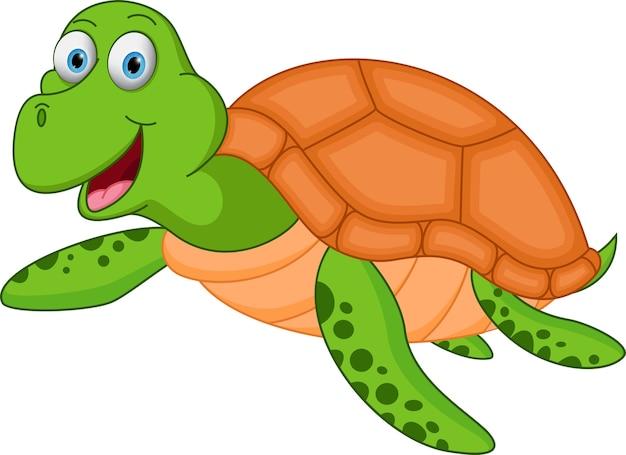 Caricature de tortue de mer heureux