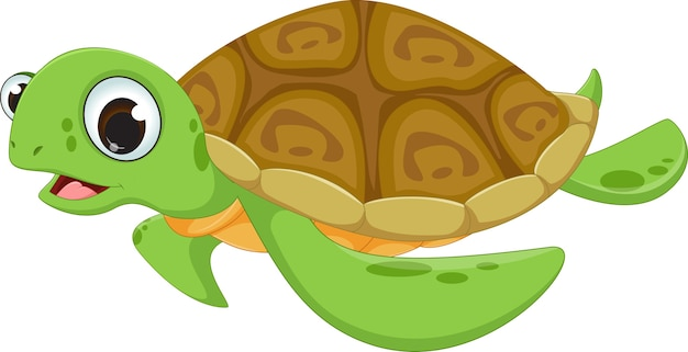 Caricature de tortue de mer mignon
