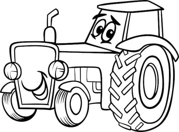 Caricature de tracteur pour livre de coloriage