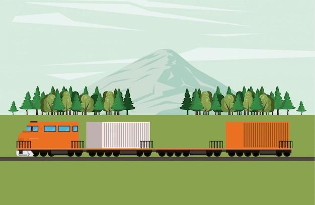 Caricature de train de marchandises logistique transport marchandises
