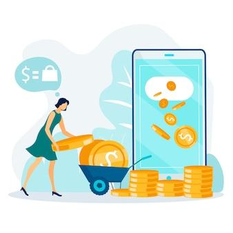 Caricature de transfert de fonds en ligne et de retrait d'argent
