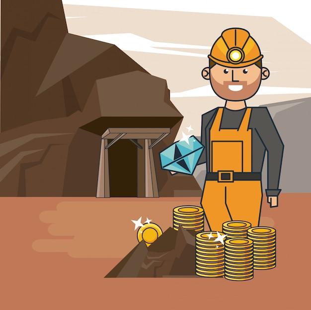 Caricature de travailleur minier