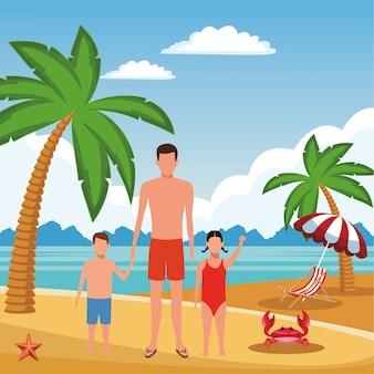 Caricature de vacances d'été