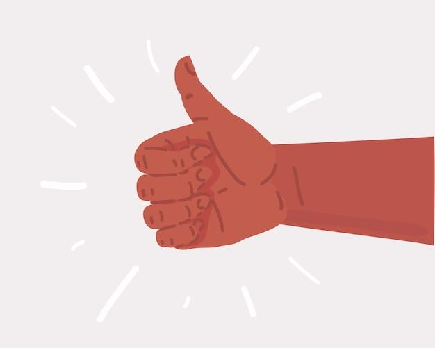 Caricature de vecteur de l'icône de la main thumb up plat. objet sur fond blanc.