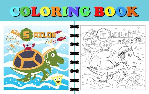 Caricature de vecteur de tortue marin jouant avec des amis livre de coloriage ou page de dessin animé animal