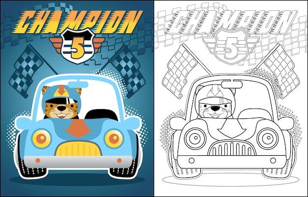 Caricature de vecteur de voiture de course