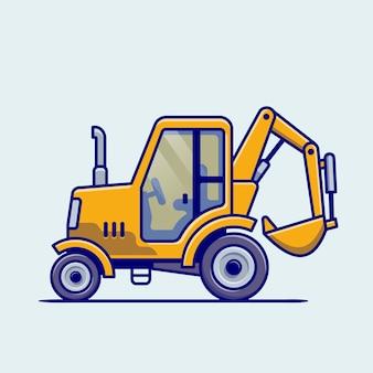 Caricature de véhicule tracteur. transport de bâtiment isolé