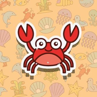 Caricature de la vie de mer de crustacés de crabe