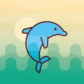 Caricature de la vie de mer de dauphin cétacé