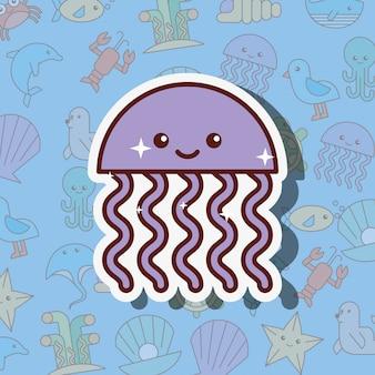 Caricature de la vie de mer de méduses