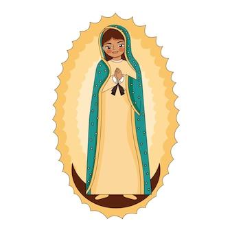 Caricature de la vierge de guadalupe sur lune avec flambée.