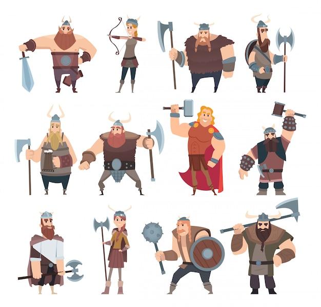 Caricature de viking. personnages scandinaves de la mythologie norvégienne costume vikings guerrier mâle et femelle illustrations